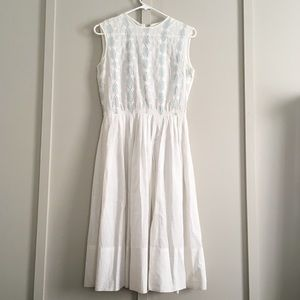 Vtg White Cotton Eyelet Summer Tea Dress 50s 60s